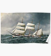 Antonio Jacobsen - The Norwegian Bark Friedig At Sea Under Reduced Sail Poster