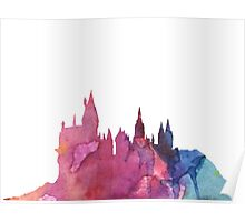 Hogwarts Castle Colourful Silhouette Poster