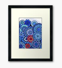 Flowers in blue and red  Framed Print