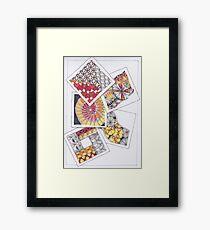 Zentangle Inspired Artwork (ZIA) - Tumbling Blocks Framed Print