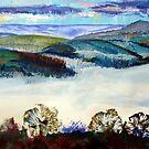 Devon Landscape Painting - Mist in the Exe Valley by MikeJory