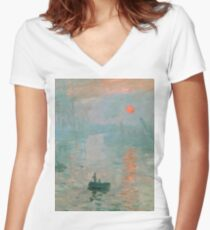 Claude Monet - Impression Sunrise Women's Fitted V-Neck T-Shirt