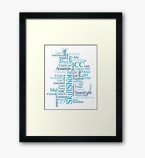 MOBA wordcloud - ocean floor Framed Print