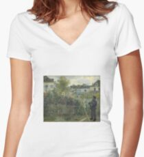 Claude Monet - Monet Painting in his Garden At Argenteuil  Women's Fitted V-Neck T-Shirt