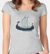 Blue viking ship Women's Fitted Scoop T-Shirt