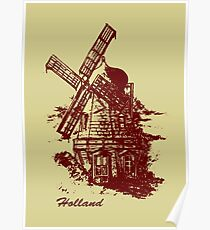 Old Holland windmill Poster