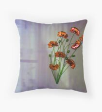 Wall flower with textured colour background Throw Pillow