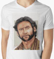 Hugh Jackman, the Man called Logan (aka The Wolverine) Mens V-Neck T-Shirt