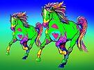 Paint Horses Running  by Juhan Rodrik