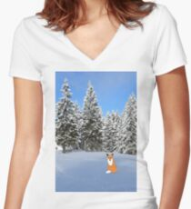 A fox in the snow. Women's Fitted V-Neck T-Shirt