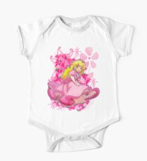 Blumige Prinzessin Pfirsich Baby Body Kurzarm