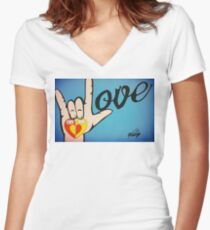 Love Sign Language Art Women's Fitted V-Neck T-Shirt