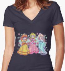 Princess Peach, Daisy and Rosalina Women's Fitted V-Neck T-Shirt