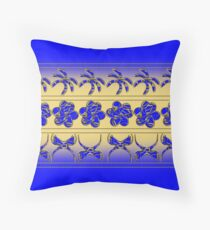 Gold n' Blue Tropical Trimming Throw Pillow