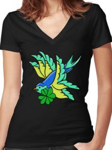 Tattoo Inpsired St. Patrick's Day Swallow Women's Fitted V-Neck T-Shirt