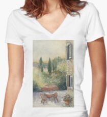 Red Umbrella - Tuscany Women's Fitted V-Neck T-Shirt