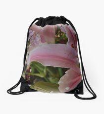 Pink Lily Drawstring Bag