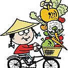 Cartoon Asian man riding bicycle carrying vegetables by Al Benge