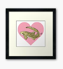 Zebra Shark Heart Framed Print