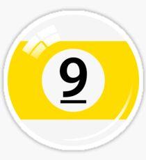 Yellow and white pool/billiard ball number nine Sticker