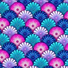 Flower Scales Pattern - Blue and Pink by iKiska