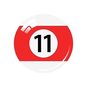 Pool ball número 11, rojo y blanco con reflejo de Mhea