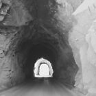 Black and white photo of Light at The End of The Tunnel by Marcie Alban