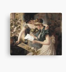 Gampenrieder, Karl - The Amusing Letter  (German, ), kingdom,queen,woman Canvas Print