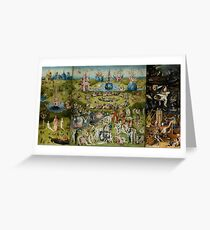 Hieronymus Bosch - The Garden Of Earthly Delights.  The Garden love - delight, eden, god, hell, adam, animal, bird, couple, fountain, monster, religion, fantasy, fish,  fruit Greeting Card