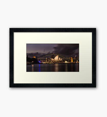 Sydney Opera at the Bridge Framed Print