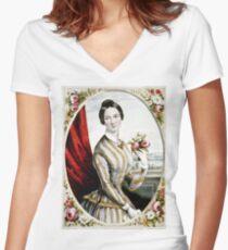 Eliza Jane - 1847 - Currier & Ives Women's Fitted V-Neck T-Shirt