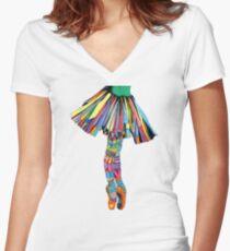Happy Ballerina Women's Fitted V-Neck T-Shirt