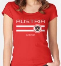 Euro 2016 Football - Austria (Home Red) Women's Fitted Scoop T-Shirt