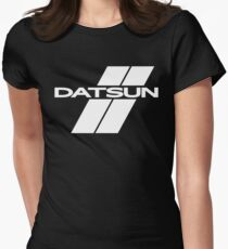 Datsun Stripes (White) Womens Fitted T-Shirt