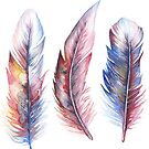 Whimsical Watercolor Feathers by Willow Heath