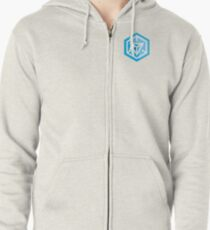 Ingress Game Logo over left Breast - Blue (Resistance) Zipped Hoodie