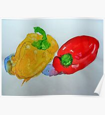 Red and Yellow Peppers Poster