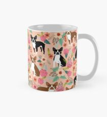 Boston Terrier florals pink peach pastel flowers spring summer pet portrait gifts for boston terrier owners Mug