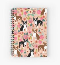 Boston Terrier florals pink peach pastel flowers spring summer pet portrait gifts for boston terrier owners Spiral Notebook