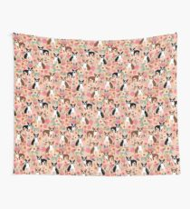 Boston Terrier florals pink peach pastel flowers spring summer pet portrait gifts for boston terrier owners Wall Tapestry