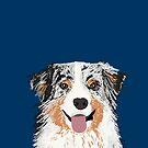 Australian Shepherd pet portrait dog gifts for aussie owner dog breeds by PetFriendly