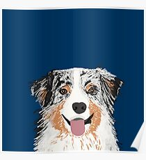Australian Shepherd pet portrait dog gifts for aussie owner dog breeds Poster