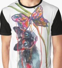 Camiseta gráfica Cat and Butterfly