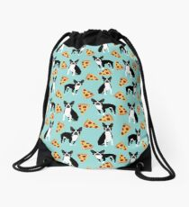 Boston Terrier pizza slices junk food funny dog gift for boston terrier owners  Drawstring Bag