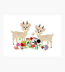 Cute Whimsical Woodland Animals Scene Photographic Print