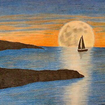 Sunset sailboat by karriezenz