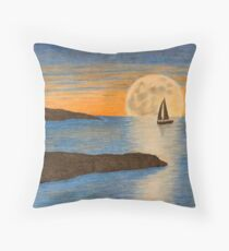 Sunset sailboat Throw Pillow