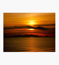 Sunset - Isle of Arran from Ayr Photographic Print