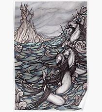 Unicorns in Sea Poster