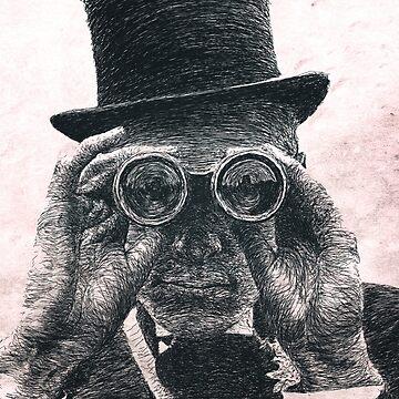 Top Hat Binoculars Man, Digital Drawing by bennyisjamin